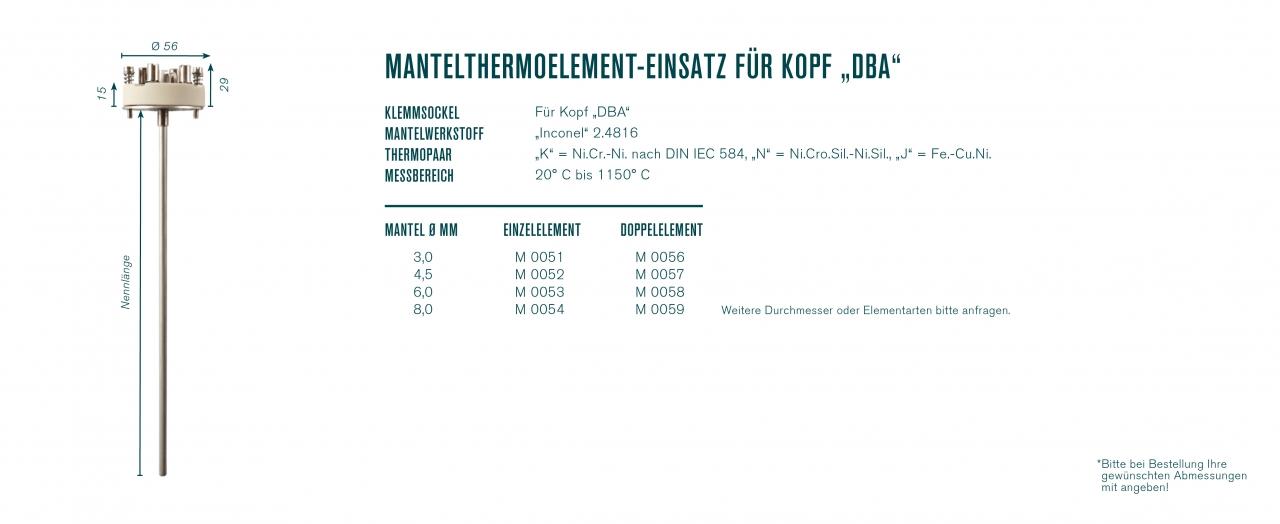 """Mantelthermoelement-Einsatz für Kopf """"DBA"""""""