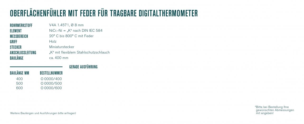 Oberflächenfühler mit Feder für tragbare Digitalthermometer