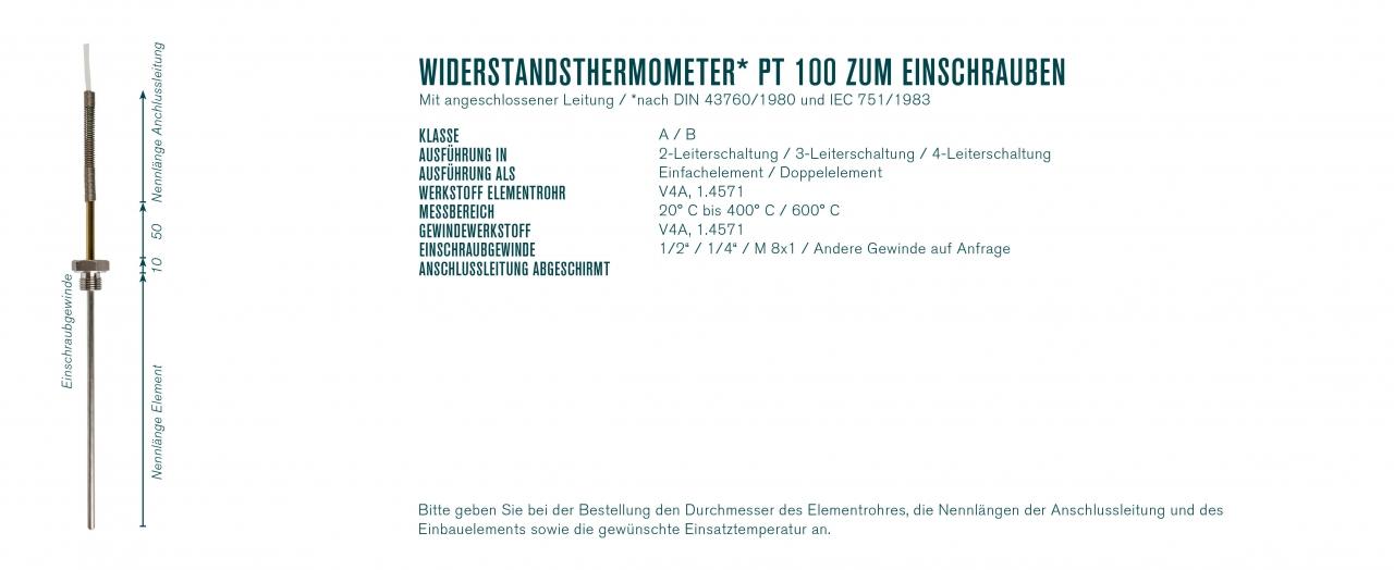 Widerstandsthermometer* Pt 100 zum Einschrauben mit angeschlossener Leitung