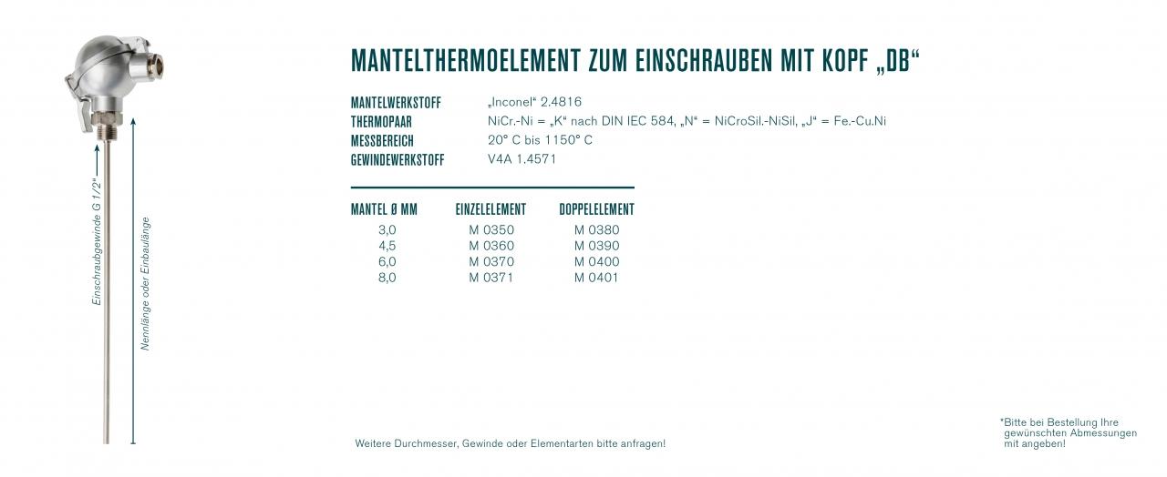 """Mantelthermoelement zum Einschrauben mit Kopf """"DB"""""""