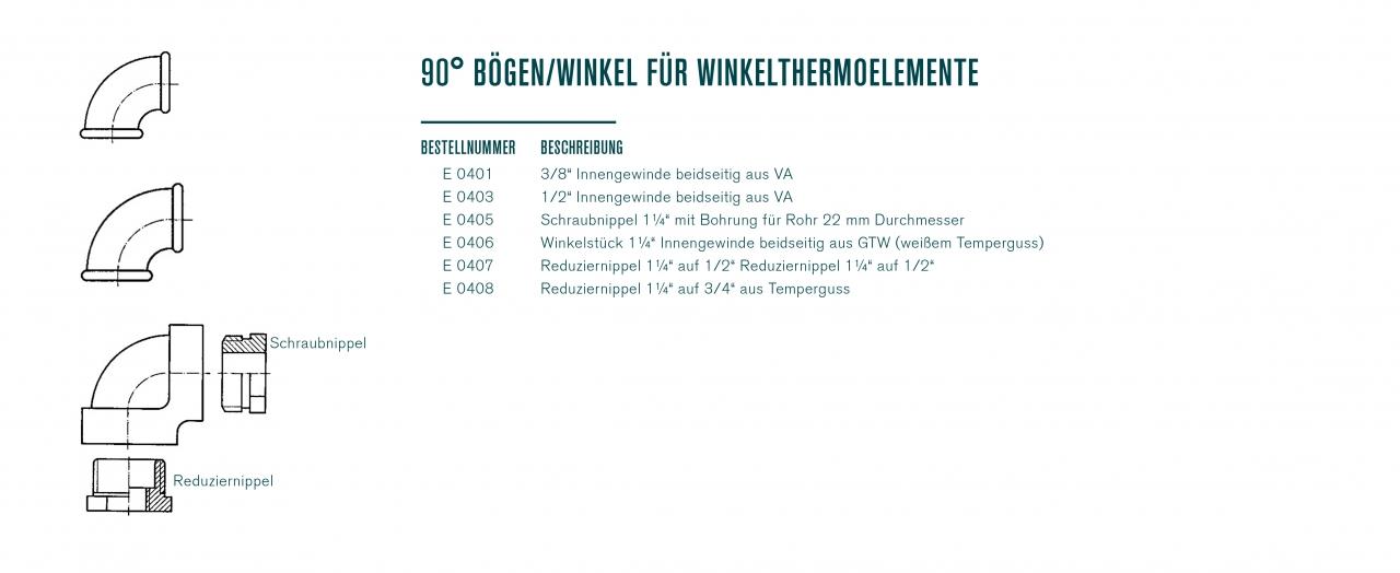 90° Bögen/Winkel für Winkelthermoelemente