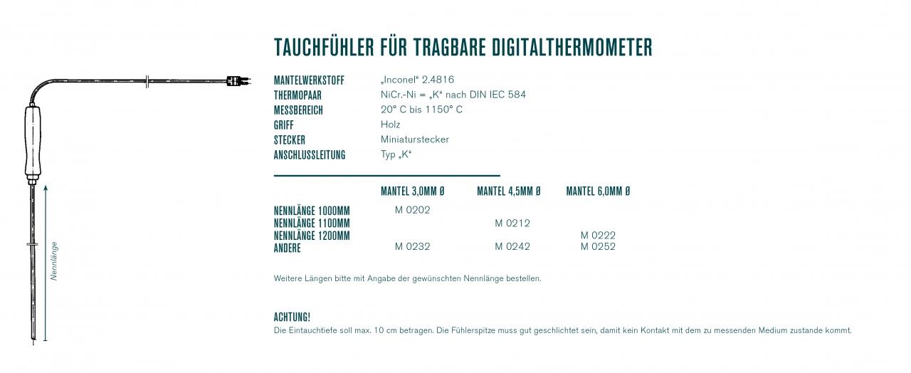 Tauchfühler für tragbare Digitalthermometer