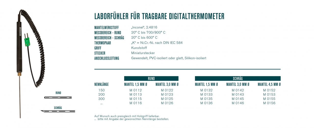 Laborfühler für tragbare Digitalthermometer