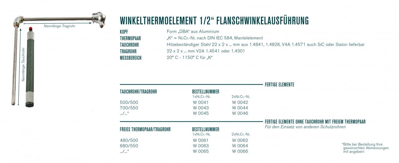 "Winkelthermoelement 1/2"" Flanschwinkelausführung"