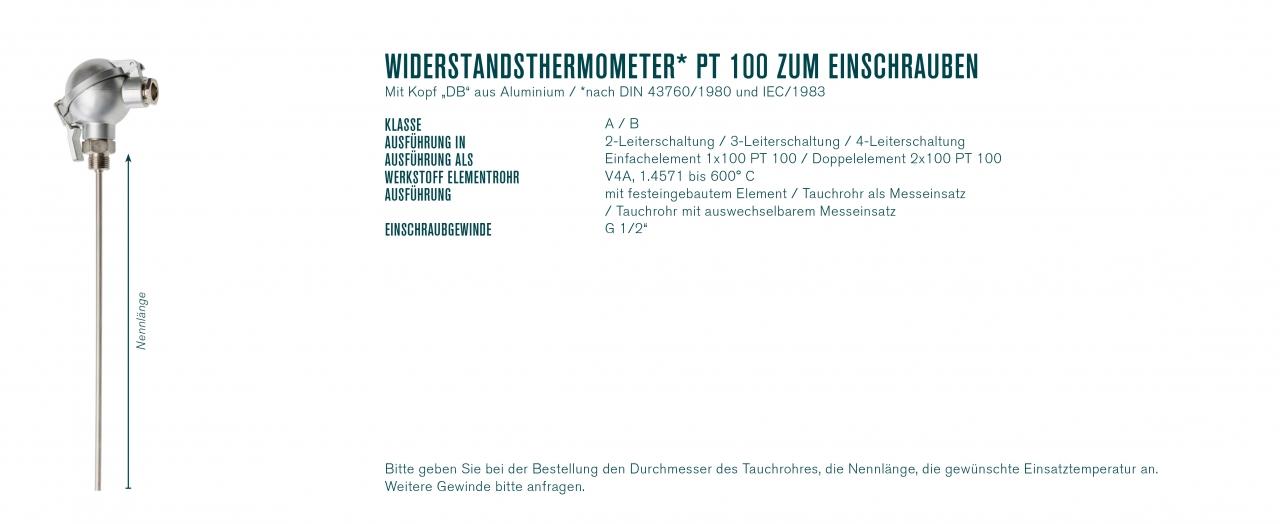 """Widerstandsthermometer* PT 100 zum Einschrauben mit Kopf """"DB"""""""