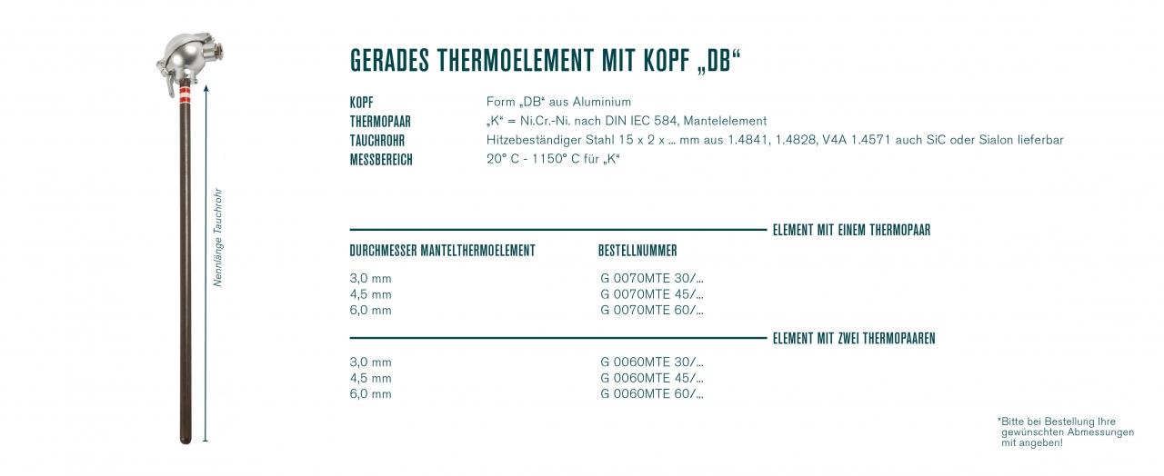 "Gerades Thermoelement mit Kopf ""DB"""