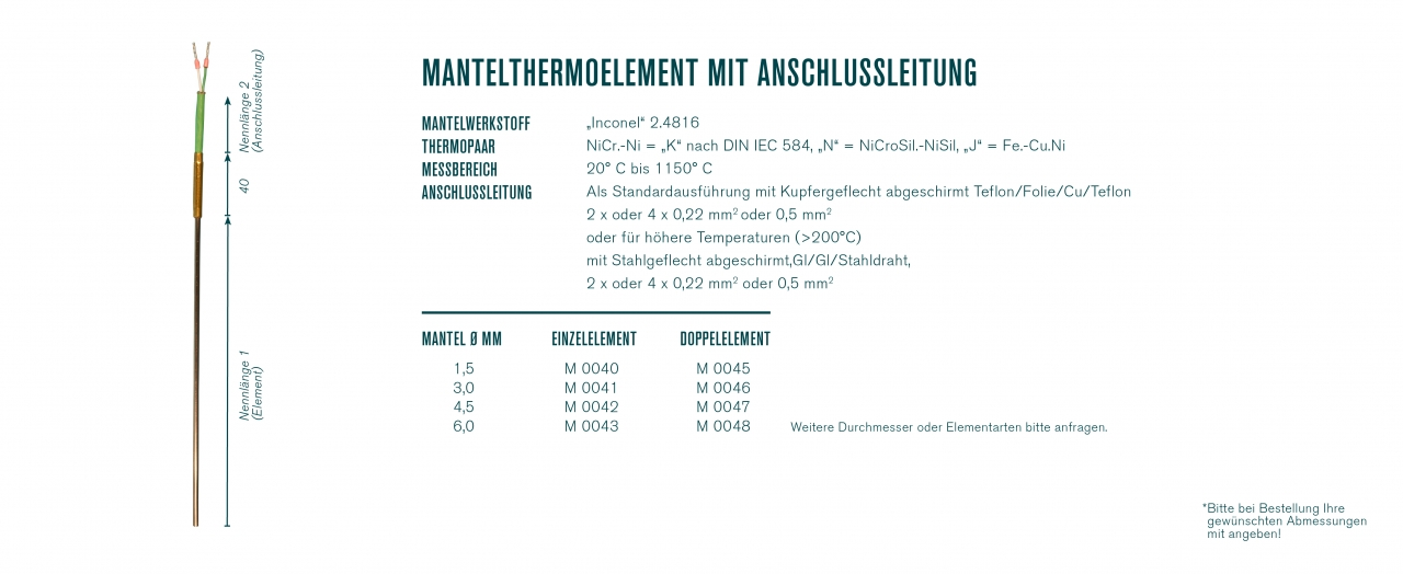 Mantelthermoelement mit Anschlussleitung