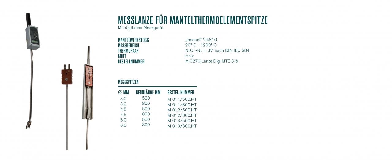 Messlanze für Mantelthermoelementspitzen mit digitalem Messgerät