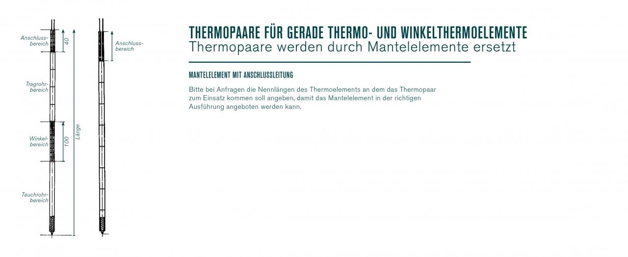 Thermopaare für gerade Winkel- und Thermoelemente