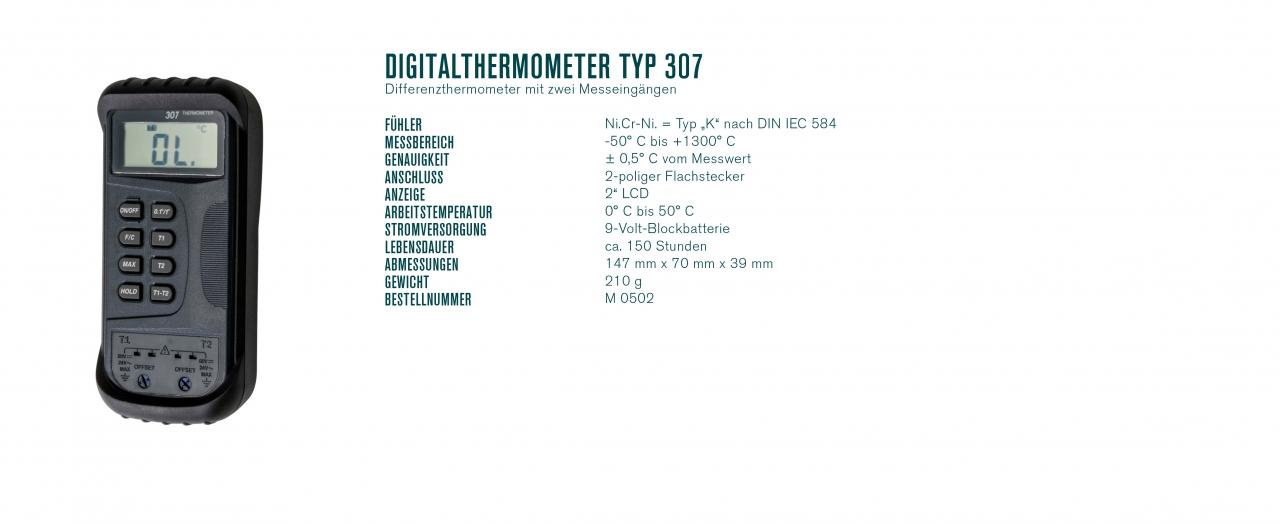 Digitalthermometer Typ 307 Differenzthermometer mit zwei Messeingängen