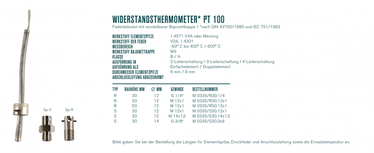 Widerstandsthermometer* Pt 100 federbelastet mit verstellbarer Bajonettkappe