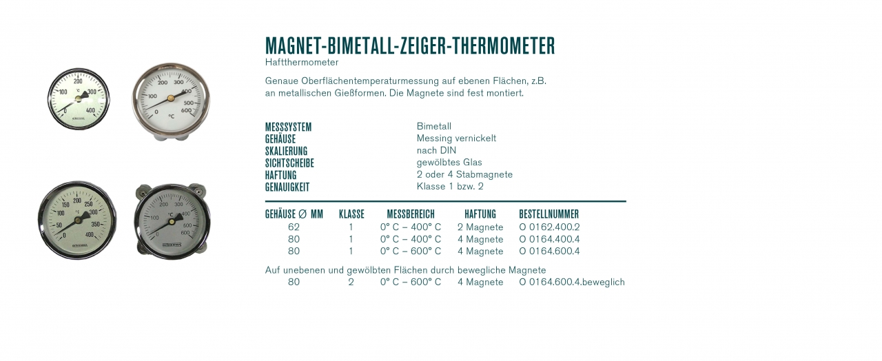 Magnet-Bimetall-Zeiger-Thermometer (Haftthermometer)