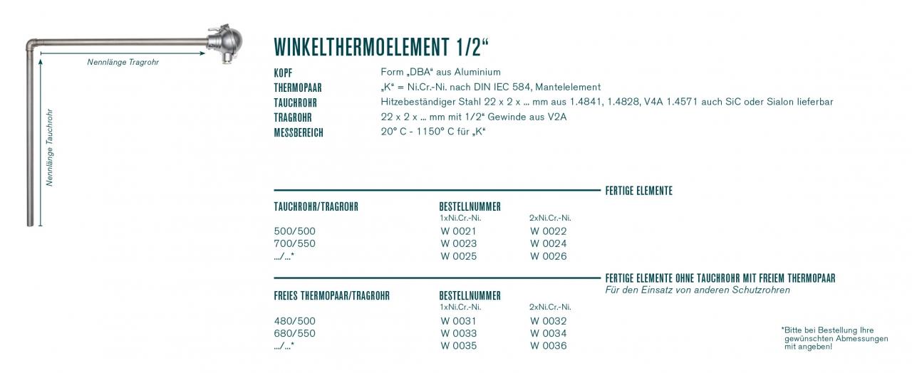 "Winkelthermoelement 1/2"" mit Kopf ""DBA"""