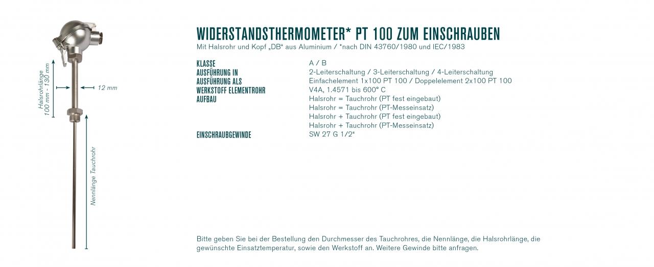 """Widerstandsthermometer* PT 100 zum Einschrauben mit Halsrohr und Kopf """"DB"""""""