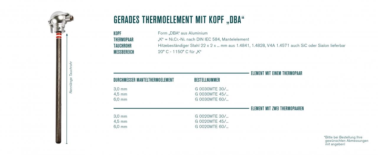 "Gerades Thermoelement mit Kopf ""DBA"""