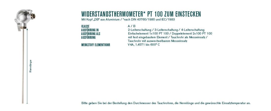 """Widerstandsthermometer* Pt 100 zum Einstecken mit Kopf """"DB"""""""