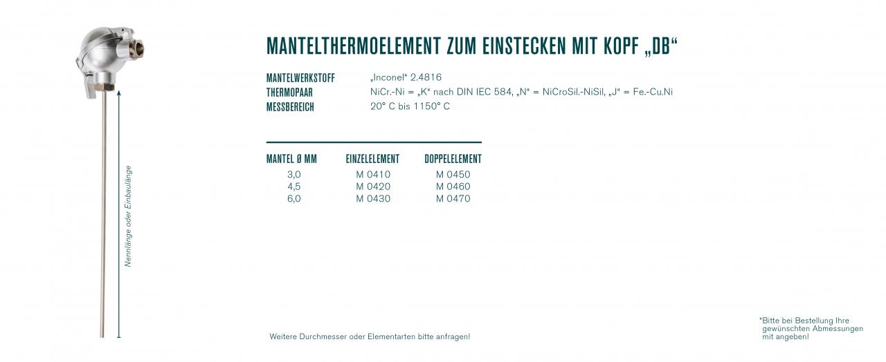 """Mantelthermoelement zum Einstecken mit Kopf """"DB"""""""