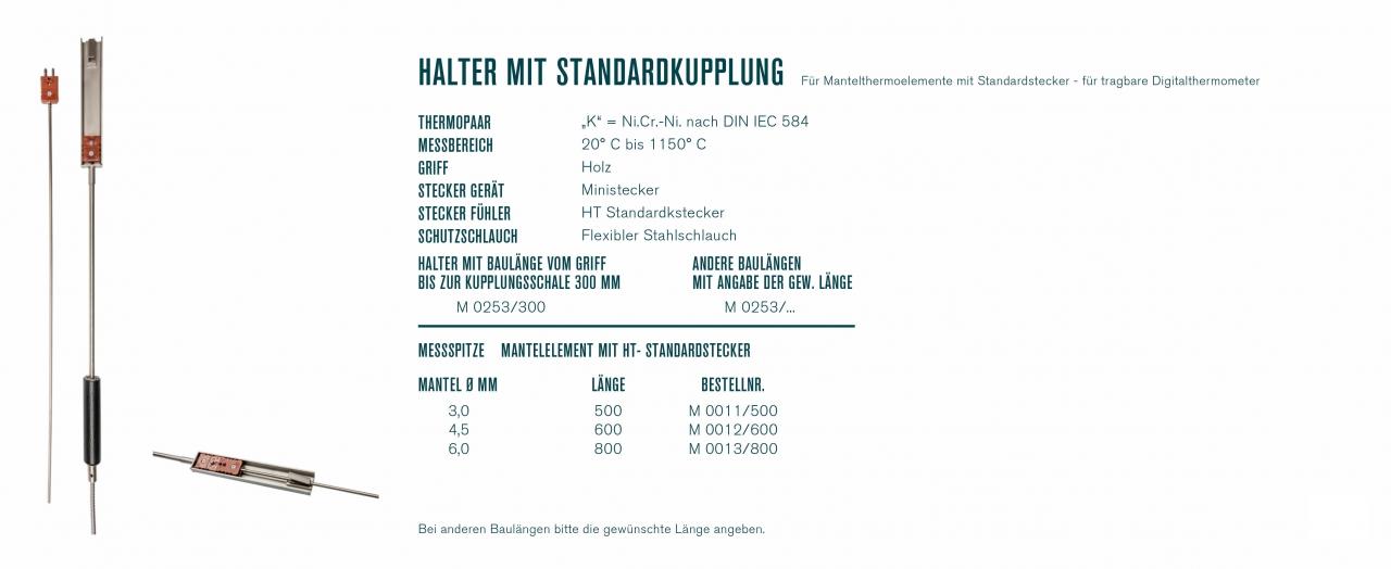 Halter mit Standardkupplung für Mantelthermoelemente mit Standardstecker