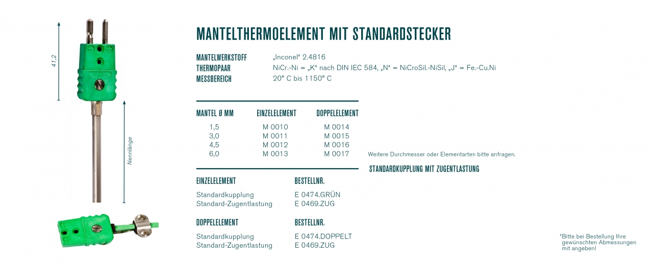 Mantelthermoelement mit Standardstecker