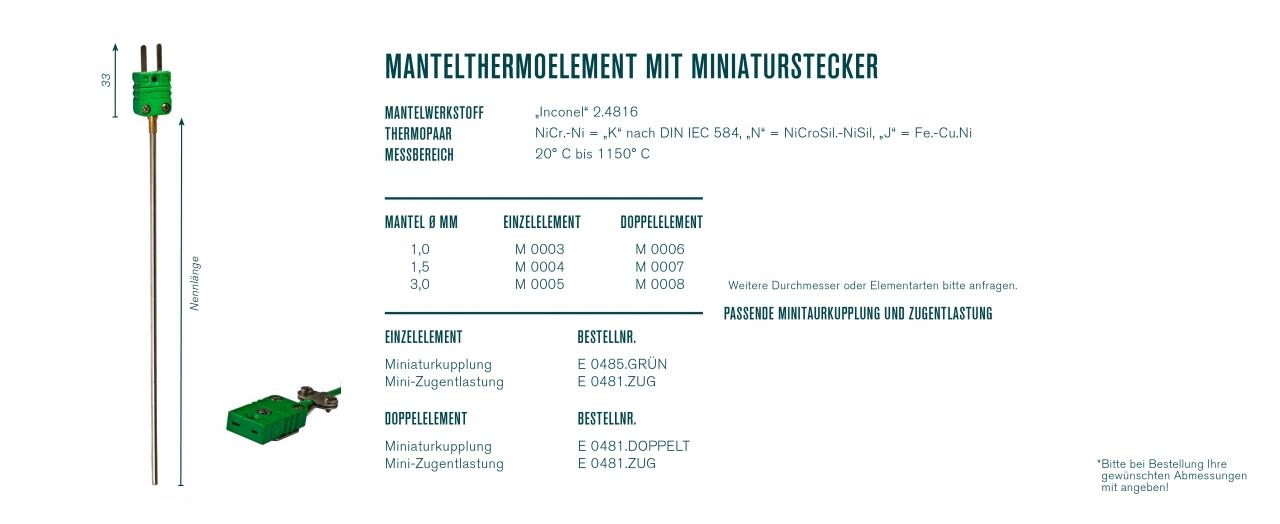 Mantelthermoelement mit Miniaturstecker