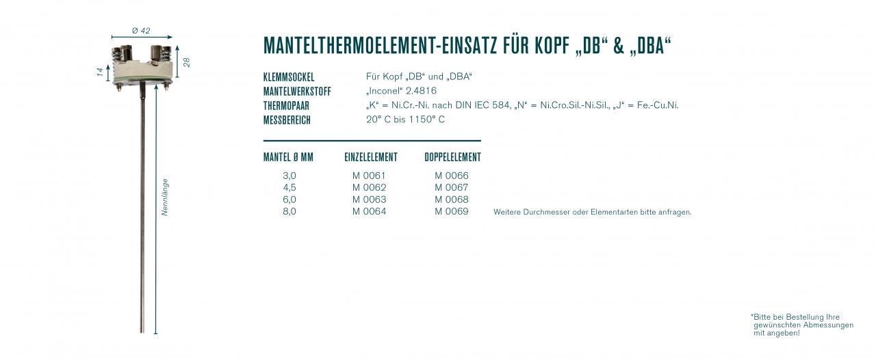 """Mantelthermoelement-Einsatz für Kopf """"DB""""und """"DBA"""""""
