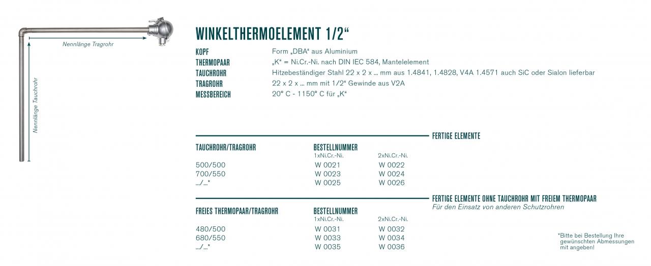 "Winkelthermoelement ½""mit Kopf ""DBA"""