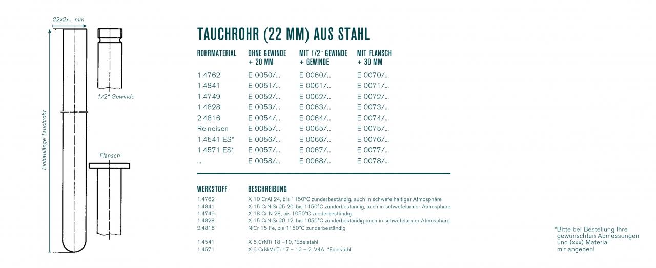 Tauchrohr (22 mm) aus Stahl