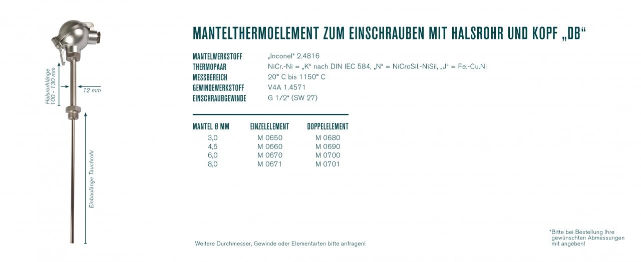 """Mantelthermoelement zum Einschrauben mit Halsrohr und Kopf """"DB"""""""