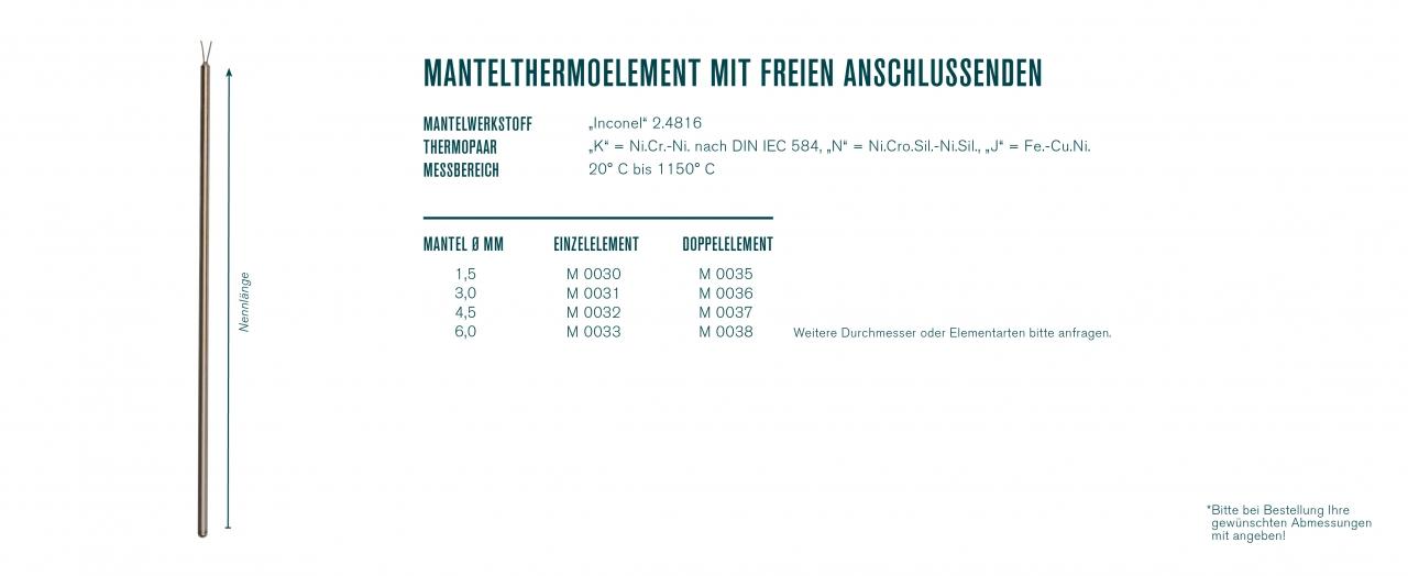 Mantelthermoelement mit freien Anschlussenden